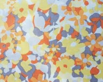 Fabric Remnant. Orange & Yellow Floral. Designer Fabric. Quilting Fabric. Quilting Scraps. 16'' x 45''