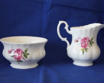 Vintage Royal Kent Milk Jug & Sugar Bowl with English Rose pattern