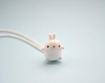Kawaii Molang Rabbit Charm, kawaii necklace, kawaii planner charm, kawaii jewellery, kawaii jewelry, korean, lolita, polymer clay jewelry,