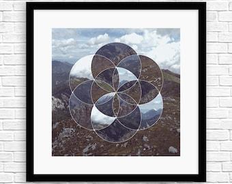 Seed of Life Mountains II - Sacred Geometry - Framed Art - SR-SOL-M-M5