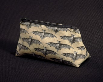 Bat Zippered Pouch / Small Tan Makeup Bag / Pencil Case / Bag Organizer / Goth Accessory