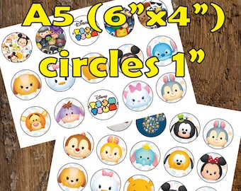 30 Tsum Tsum Digital Party Stickers Circles size 1'' sheet A5 (4''x 6'') Bottle Cap images Cupcake Toppers Disney