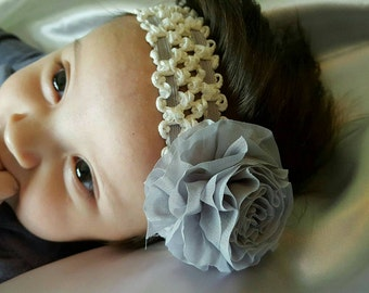 Simply Gray Rose Hairband