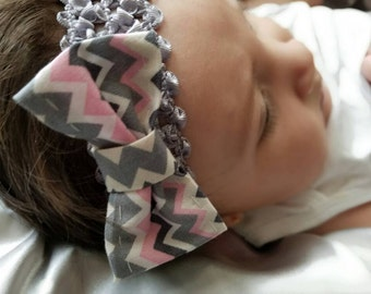 White, Gray and Pink Zig Zag Bow