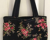 Handmade Small Fabric Tote Bag Lunch Bag Handbag in Black Floral