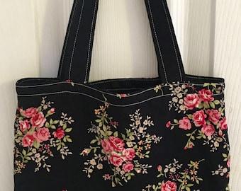 Handmade Small Fabric Tote Bag Lunch Bag Handbag in Black Floral