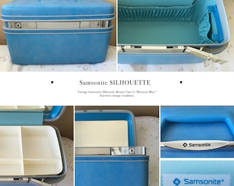 Vintage Samsonite SILHOUETTE Beauty Case  Biscayne Blue