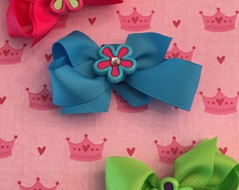 hair bows with neon flower charms