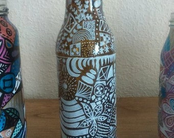 Glass Bottle Hand Painted