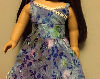 Blue/green cotton dress for 18 inch dolls