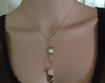 Yellow  Beer Quartz and Seed Pearl Birdcage wrap Pendant on Gold plated chain Necklace