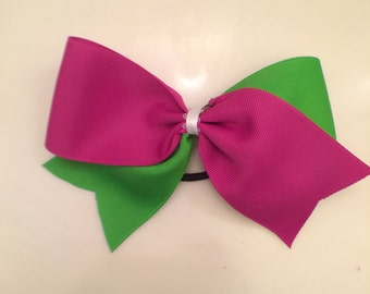 Classic Fuchsia and Lime Cheer Bow