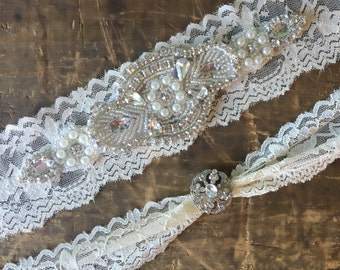 Ivory Wedding Garter Set NO SLIP grip vintage rhinestones best seller, wedding garter set, wedding garter
