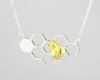 Sterling Silver Bee On The Honeycomb