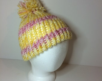 Pink& Yellow Crochet Pom Pom Beanie Winter Hat