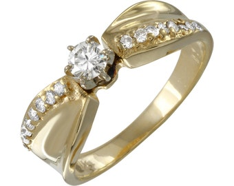 Diamond Engagement Ring in 14k Yellow Gold (Size 6.5)