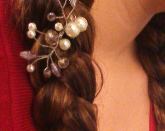 Simple Pale Blush and Pearl Bridal Hair Pin