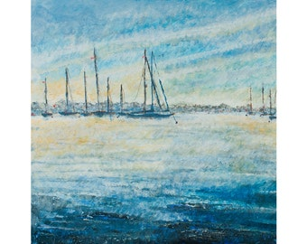 Painting print,Landscape print ,'Hamble Misty Morning', limited edition,wall art,harbour scene, Hamble, Hampshire,Giclee