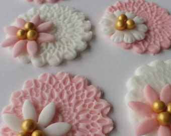 12 Lace/flower cupcake toppers