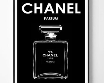 Chanel print, Fashion Print, Coco Chanel, Chanel perfume, Perfume bottle, Fashion, Modern print, Typography Art, Minimalist, Scandinavian
