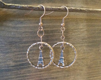 Copper Eiffel Tower Earrings