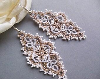 White gold tatting lace earrings, long drop earrings, wedding  jewelry,leaf lace earrings,tatted filigree jewelry