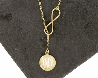 925 Sterling Silver Monogram Infinity Lariat Necklace, Bridesmaids Gifts, Gold Vermeil