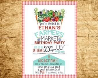 Farmers Market Birthday Party Invitation, PRINTABLE, Farmers Market Party, Farmers Market Digital Invitation