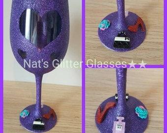 Full glitter heart wine glass