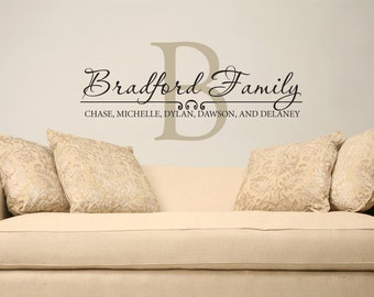 Family name wall decal custom personalized name vinyl wall decal