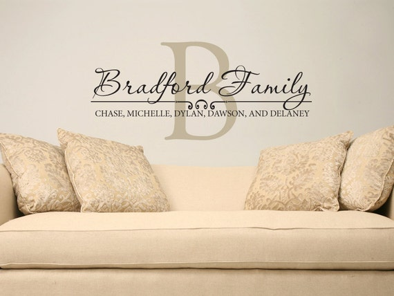 Family Name Wall Decal Custom Personalized Name Vinyl Wall - Vinyl wall decals custom