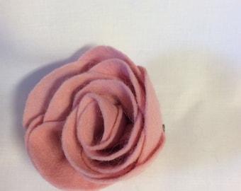 Pink Felt Rose Hair Clip