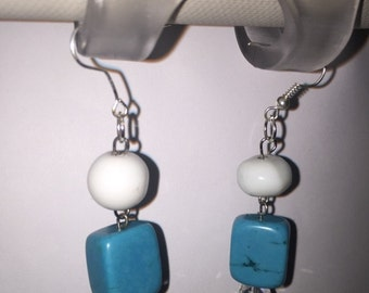 Qcean Blue Turquoise Small Dangle Earrings