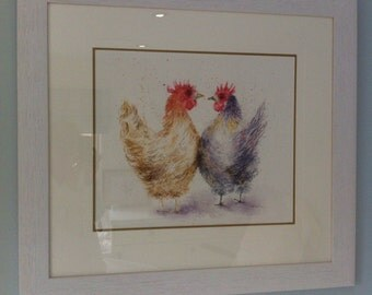 Hens 'Love at first sight', print, mounted and framed.