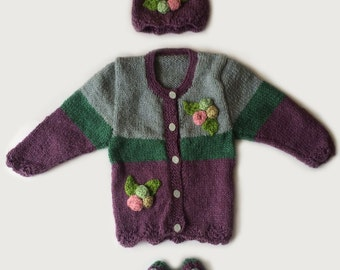Zoey Hand Knitted Sweater Set (multi colour, 0 to 6 Month)