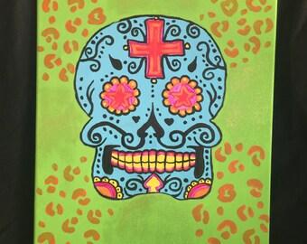 Day of the Dead Skull- green