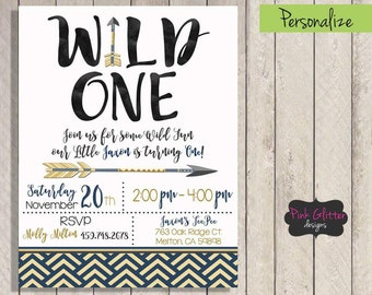 Wild One Invite, Wild One Invitation, Wild One Birthday, Wild One Party, Wild One, First Birthday, First Birthday Invite, Boy First