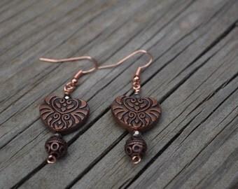 Copper color heart earrings
