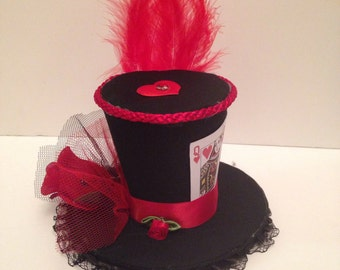 Mad Hatter Alice wonderland Queen of Hearts Mini Top Hat Fancy Dress Halloween