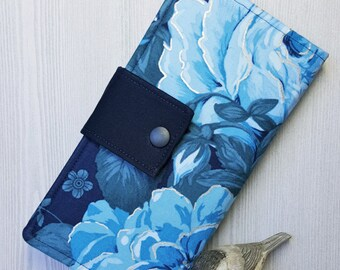 Deep blues floral womens wallet, bifold fabric wallet, handmade clutch wallet, credit card wallet, checkbook wallet, gift idea