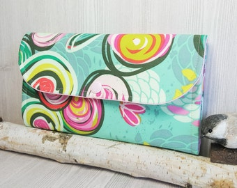 Floral collage print Womens Accordion wallet, Womans wristlet clutch wallet, handmade fabric wallet, phone wallet, card checkbook wallet