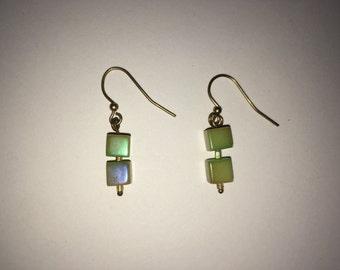 Green Cube Earrings