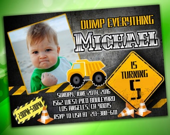 Dump Truck Birthday Invitation, Construction Birthday Invitation, Construction Party, Construction Birthday, Construction Invitation,