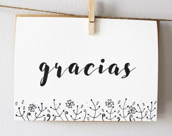 Gracias Thank You Blank Notecard 5 x 7