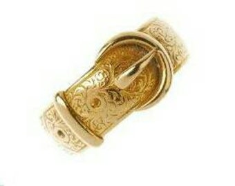 Antique 18K Yellow Gold Buckle Ring