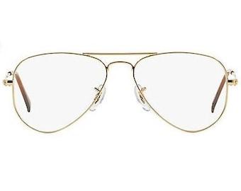 Classic Vintage Clear Lense Aviators Gold Frame | Hipster Retro Glasses | Vintage Retro Style