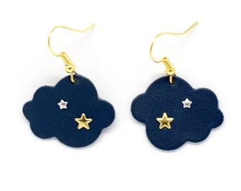 """Clouds """"stratus starred"""" blue and gold earrings handmade"""