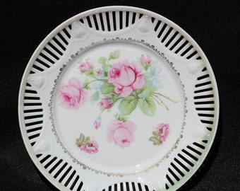 Vintage 10 inch White Plate Wall- Hanger.  White with Pink Roses   Made in Bavaria Cutouts