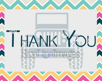 "Jeep Theme ""Thank You"" cards"