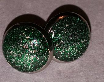 Dark Green & Silver 12mm Stainless Steel Earrings